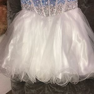 blush prom Dresses - Strapless blue and white homecoming dress